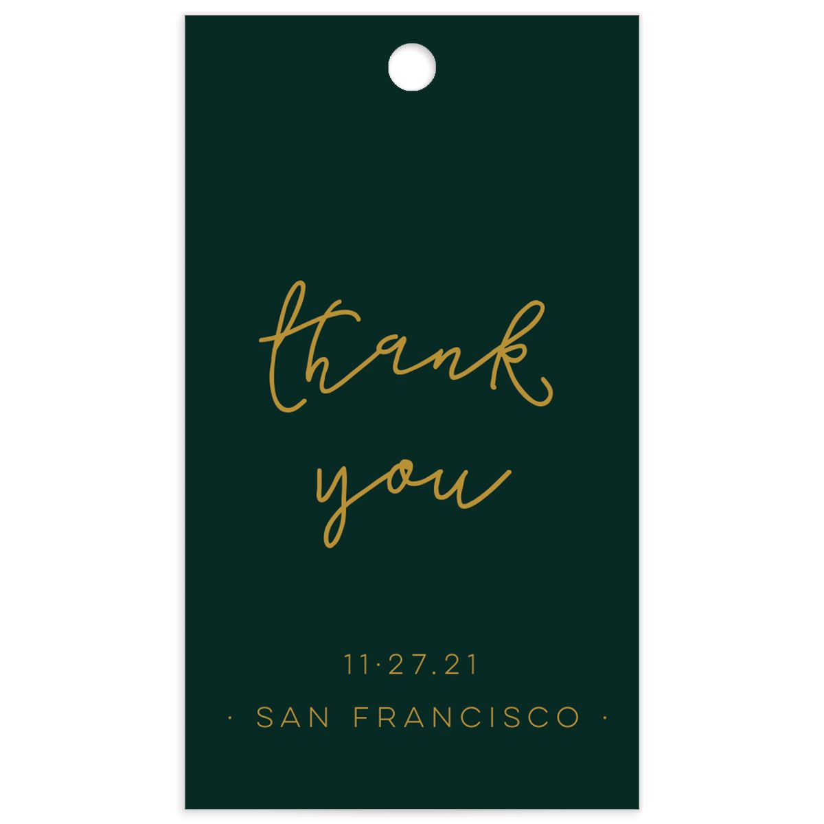 Gold Calligraphy favor gift tags green front