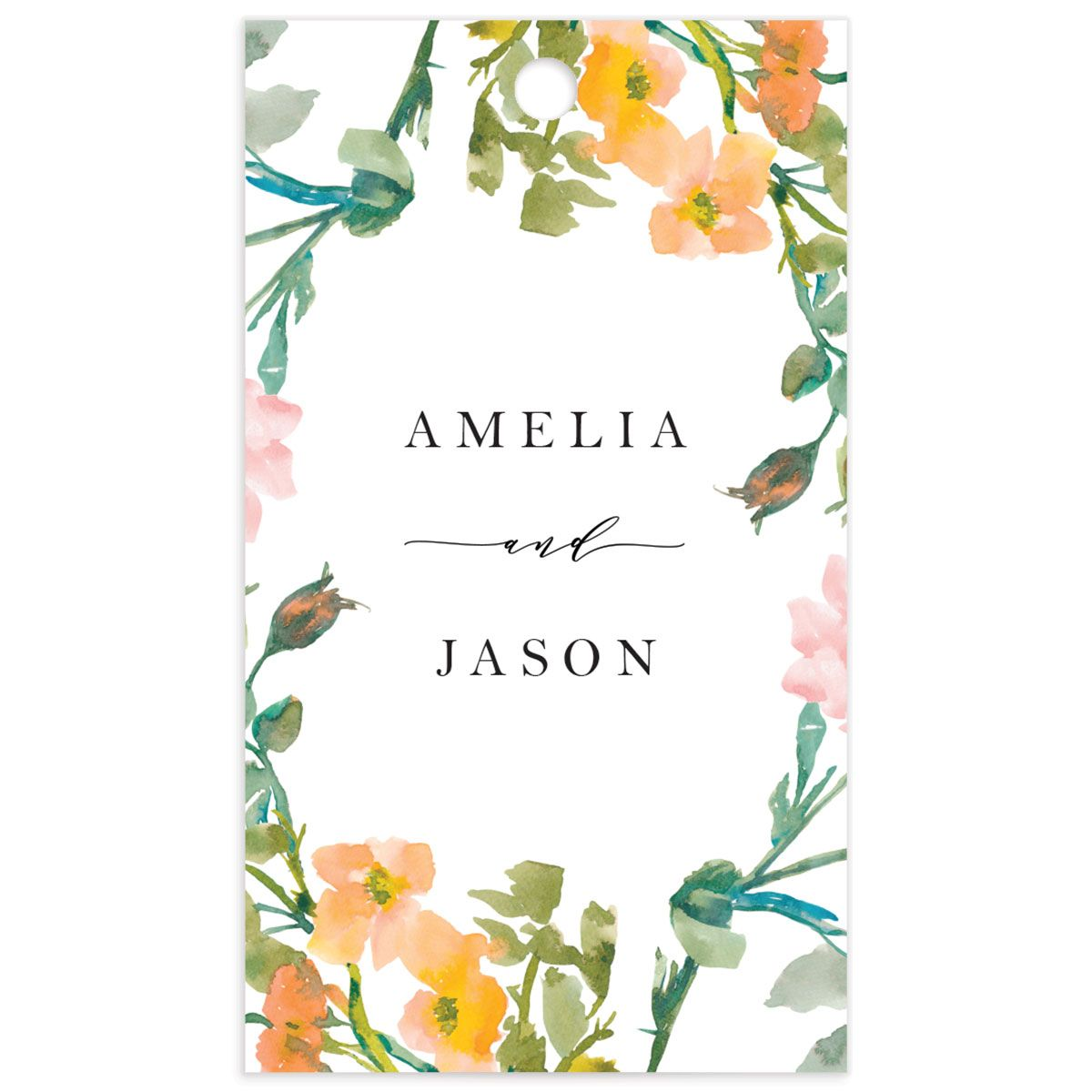 Minimal Floral wedding favor gift tags back