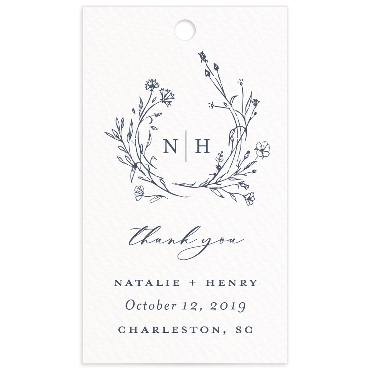 Natural Monogram wedding favor gift tag fronts in blue