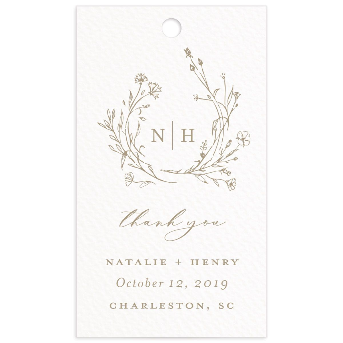 Natural Monogram wedding favor gift tag fronts in tan