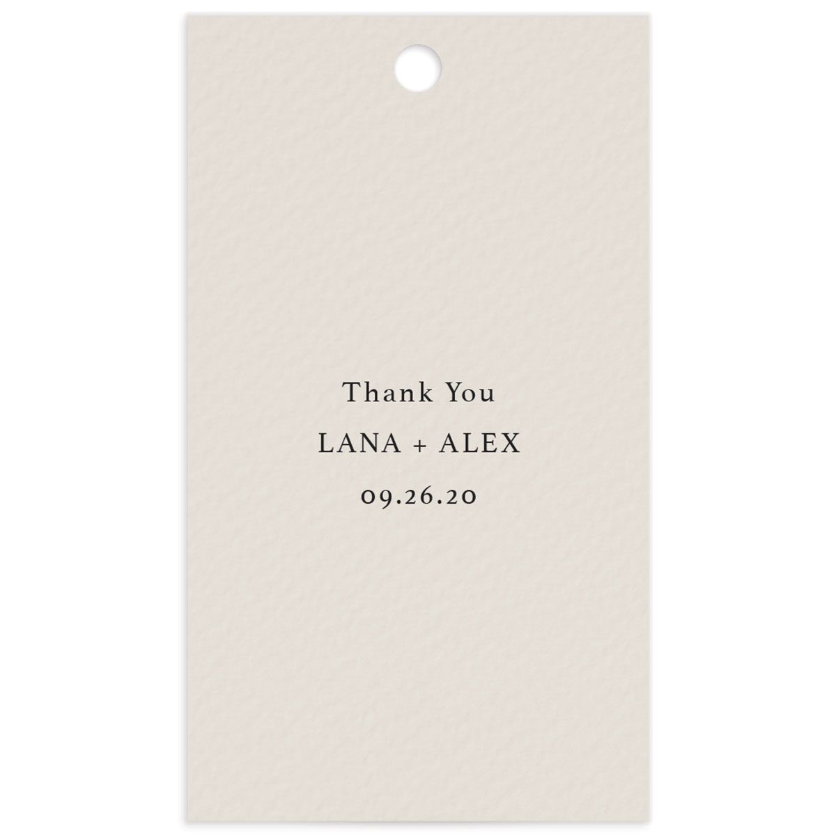 Natural Palette wedding favor gift tags closeup blue front