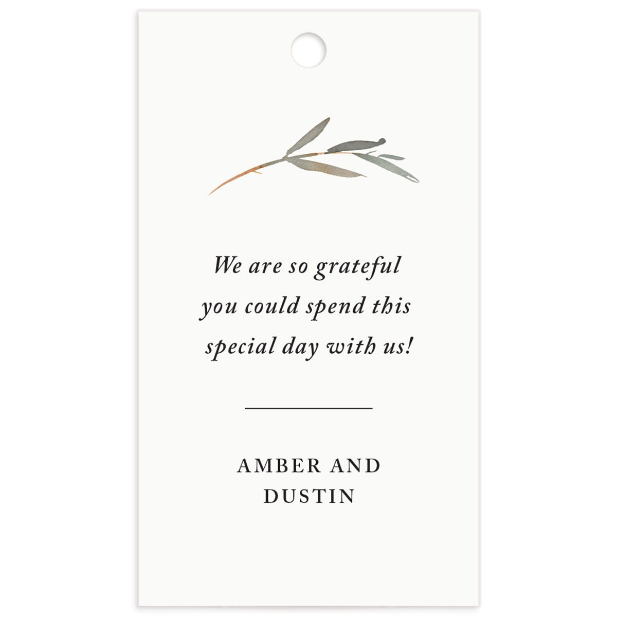 neutral greenery wedding favor tags in yellow back