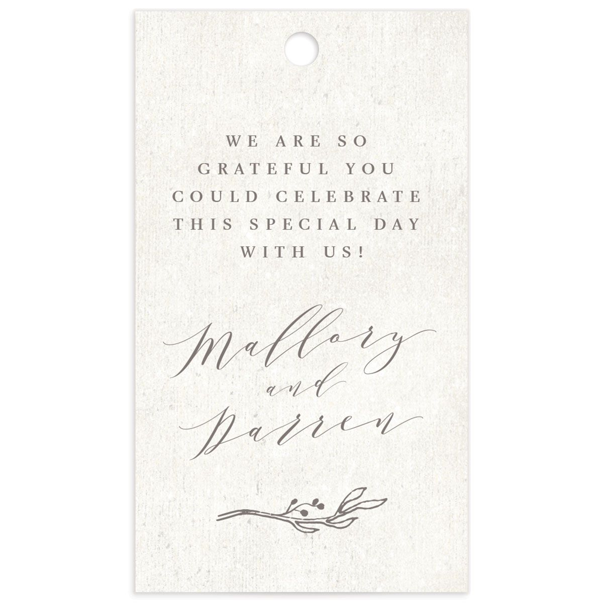 rustic elegance wedding favor gift tags back