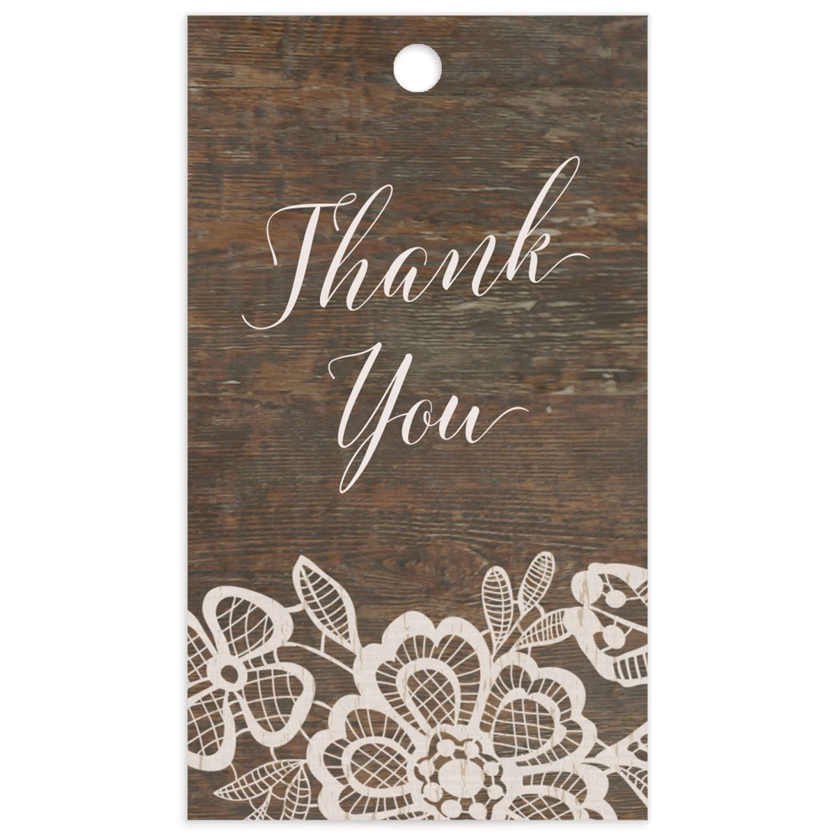 Woodgrain Lace gift tag back