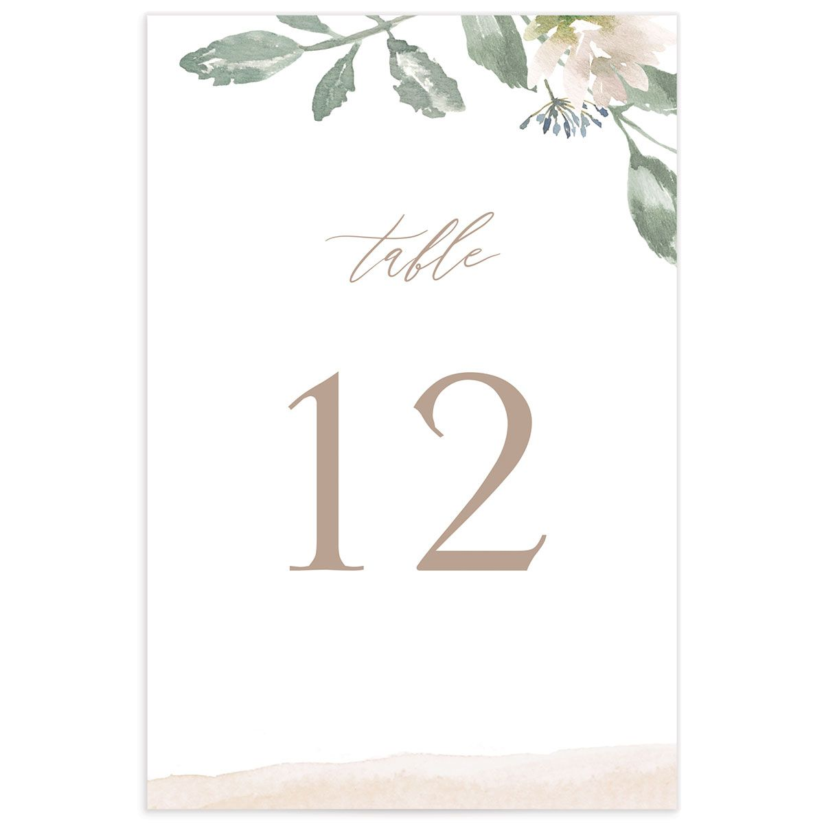 Dusted Calligraphy table number pink front
