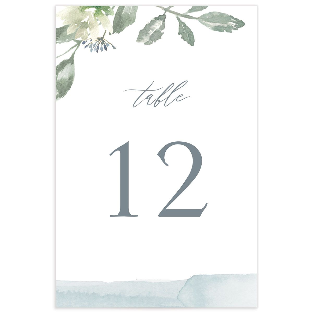 Dusted Calligraphy table number blue back