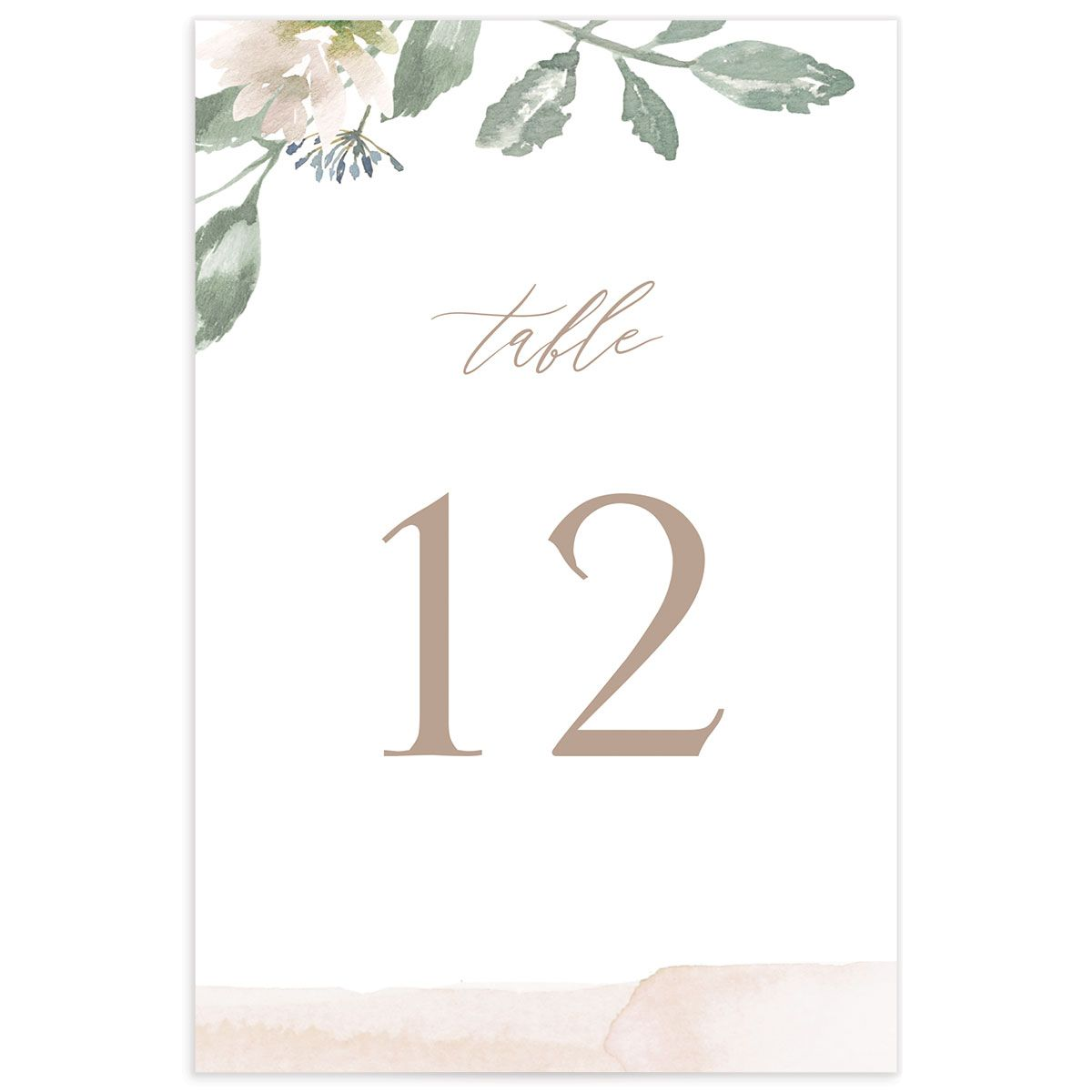 Dusted Calligraphy table number pink back