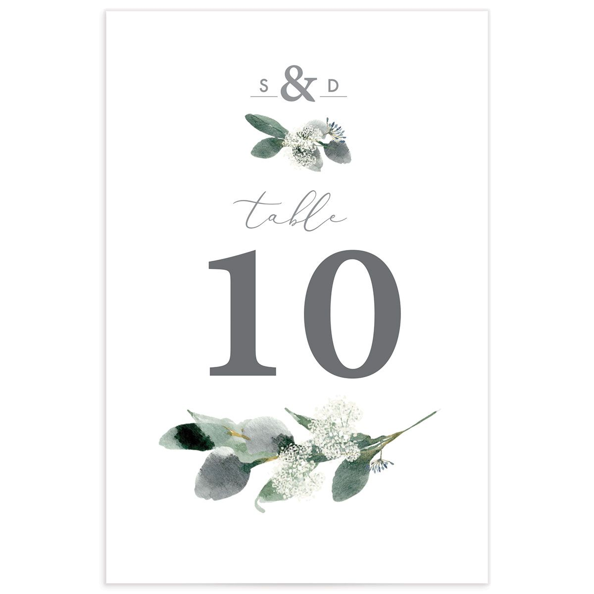 Elegant greenery table numbers