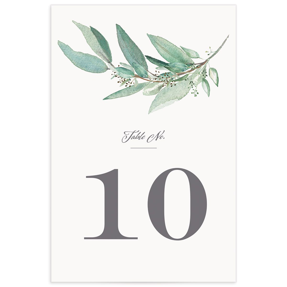 Lush Greenery table number front