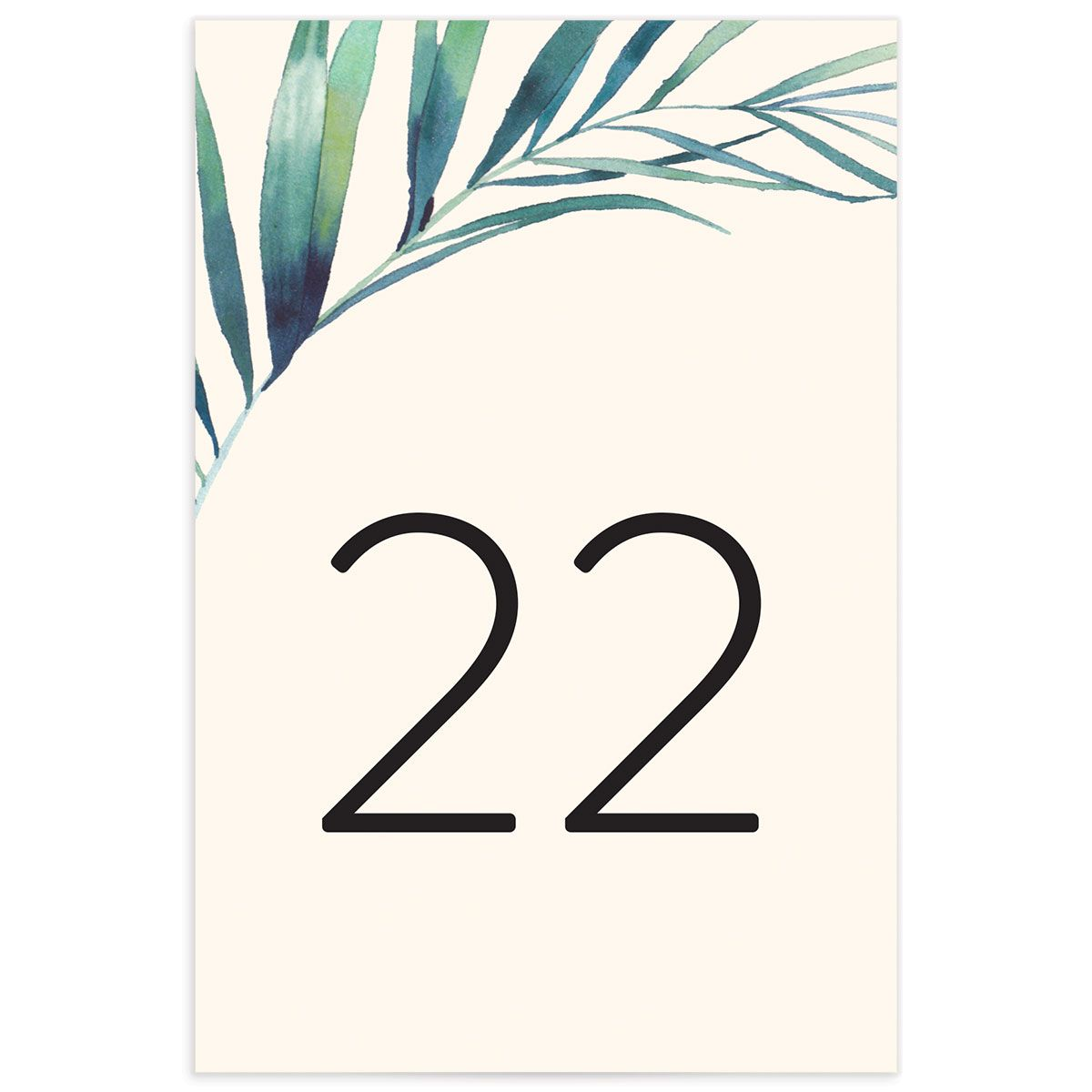 Palm and Protea Wedding Table Numbers front