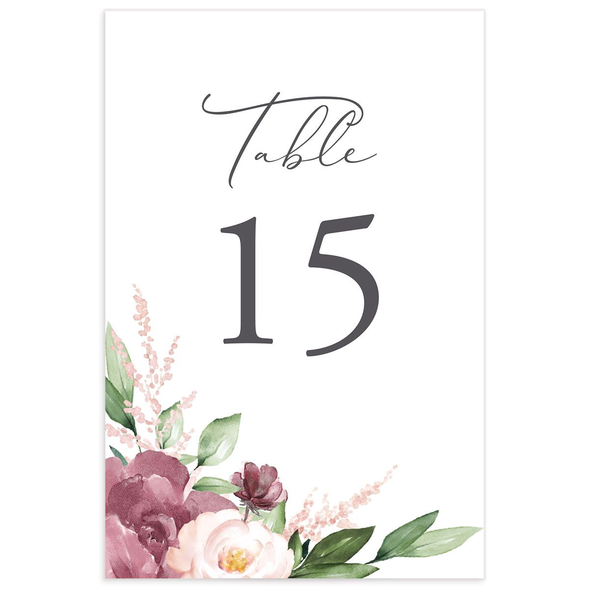 Beloved Floral table numbers in purple back