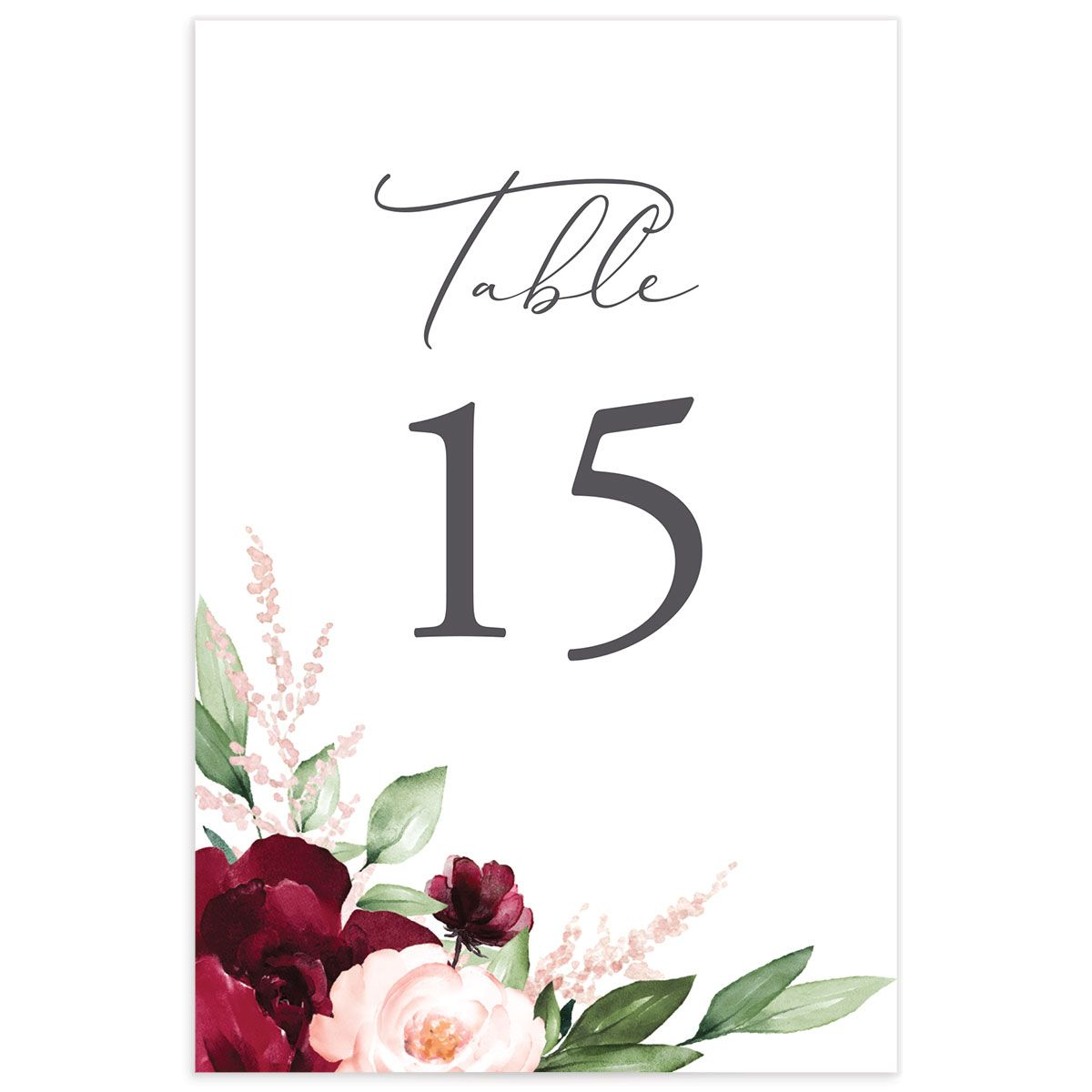 Beloved Floral Table Numbers in Red back