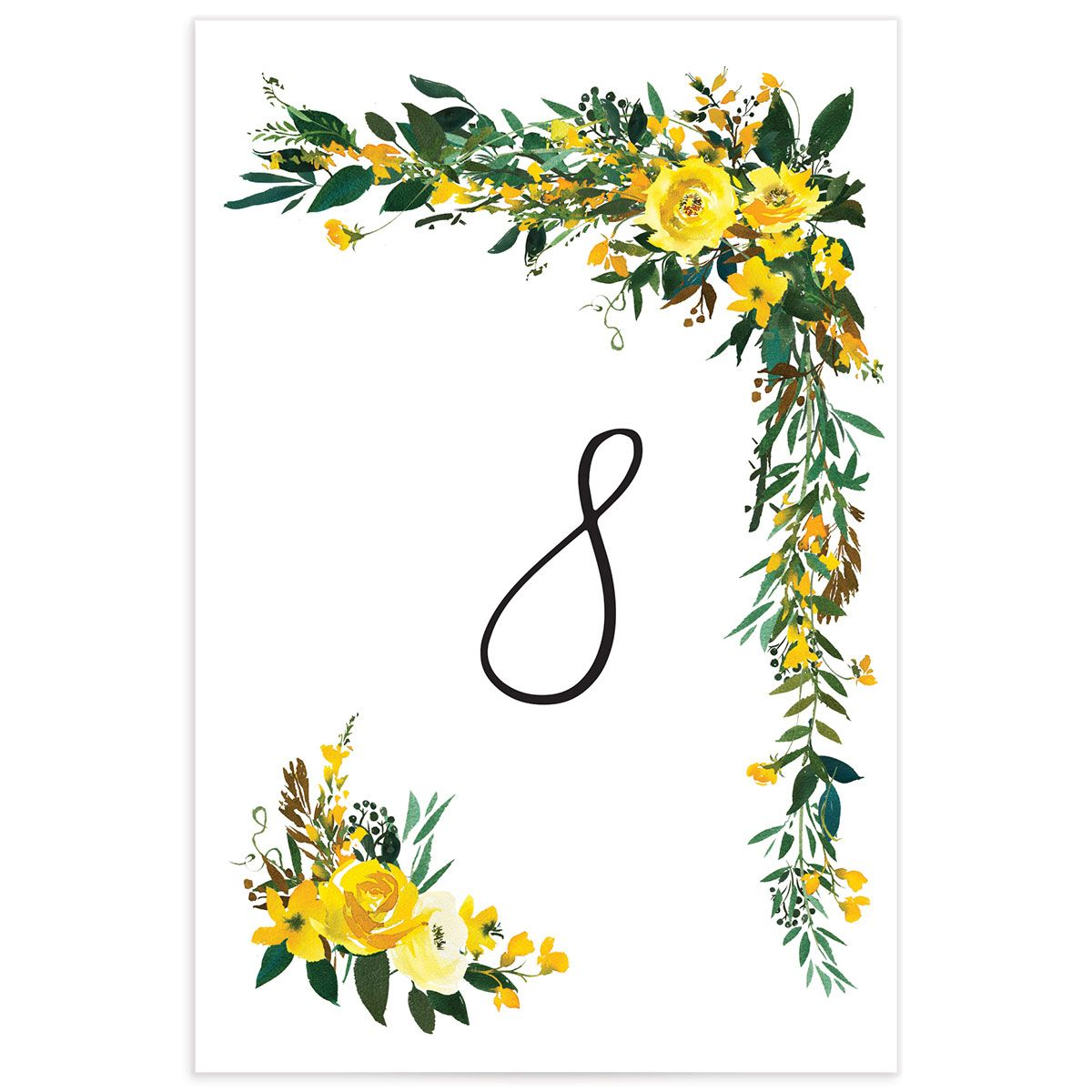 Cascading Altar wedding table numbers in yellow
