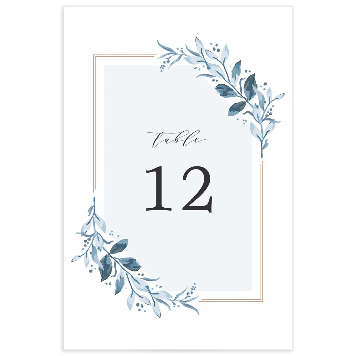 classic greenery wedding table numbers in blue