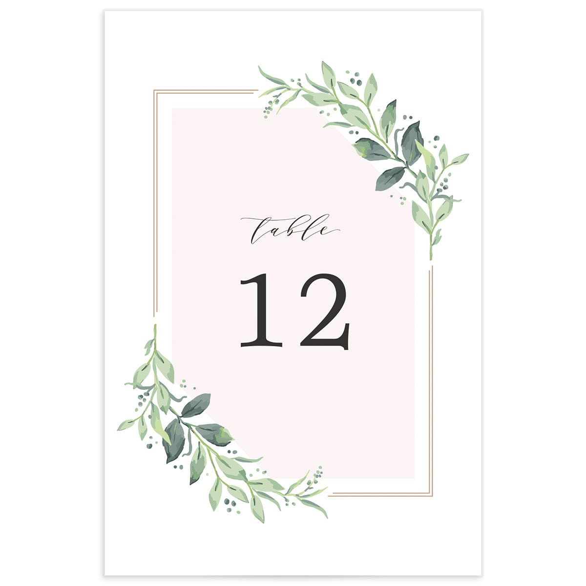 classic greenery wedding table numbers in pink
