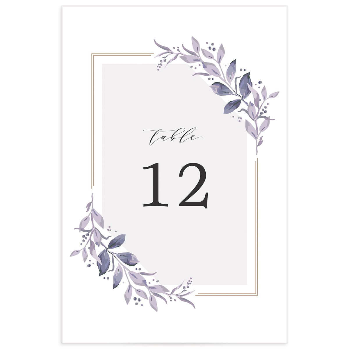 classic greenery wedding table numbers in purple