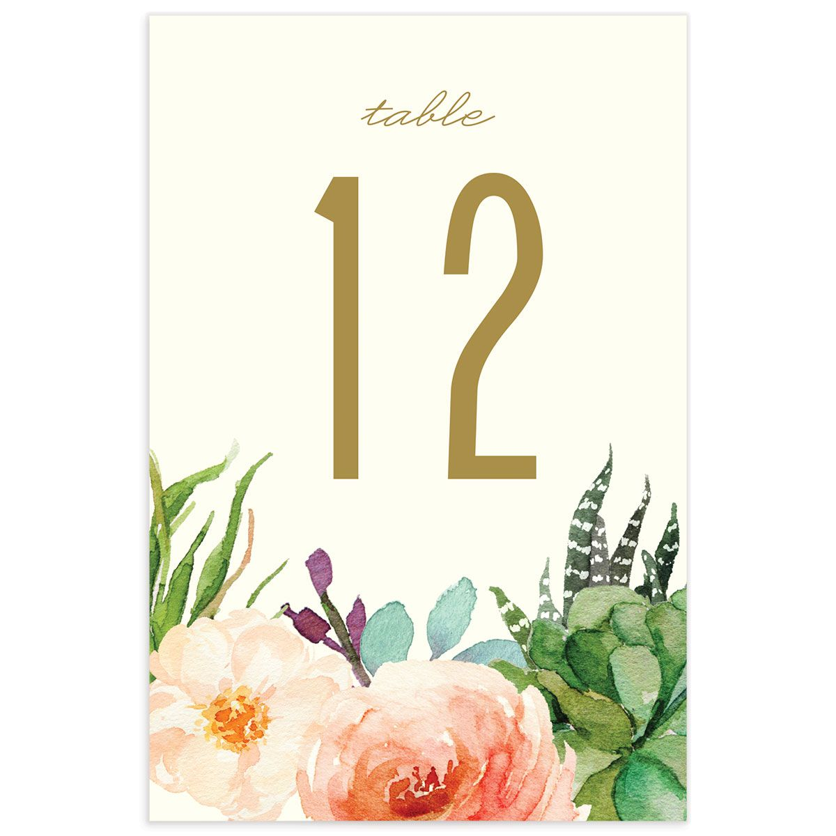 Elegant Oasis Wedding Table Numbers front
