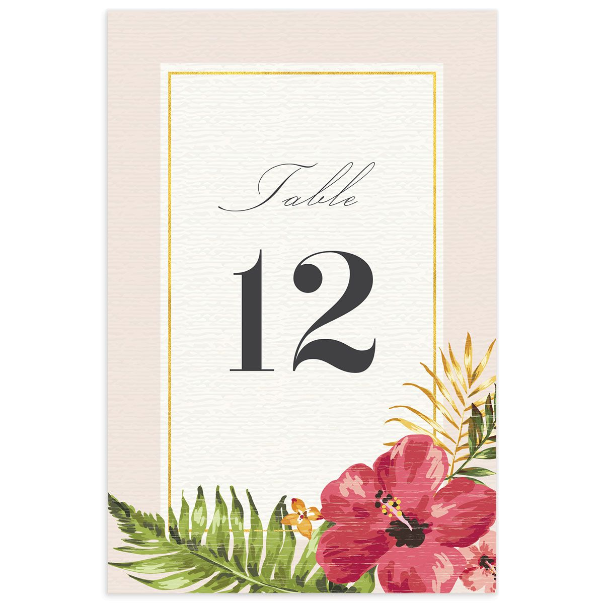 elegant paradise wedding table numbers in pink
