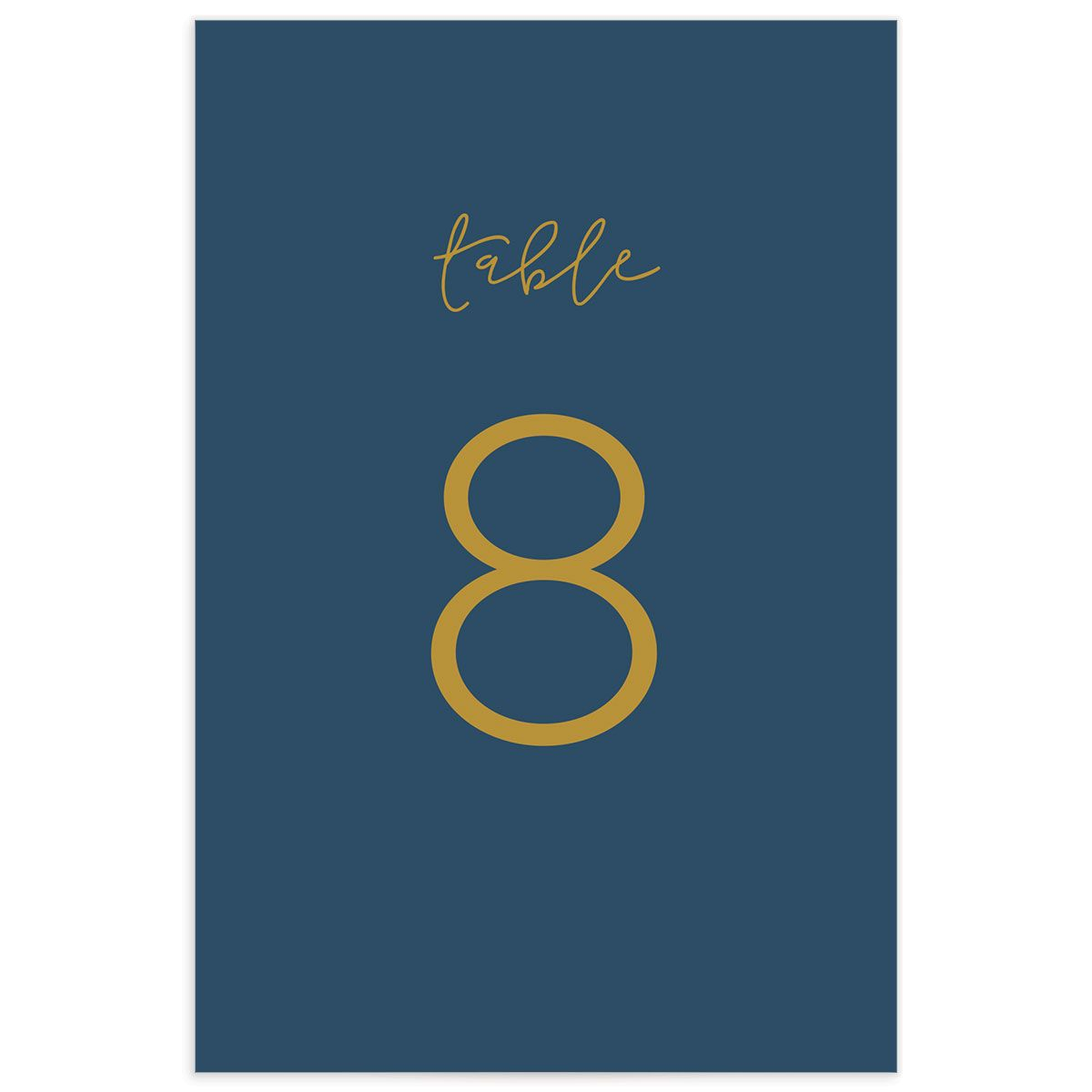Gold Calligraphy wedding table numbers blue back