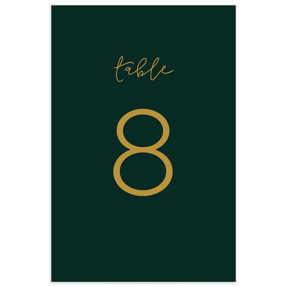 Gold Calligraphy wedding table numbers green back