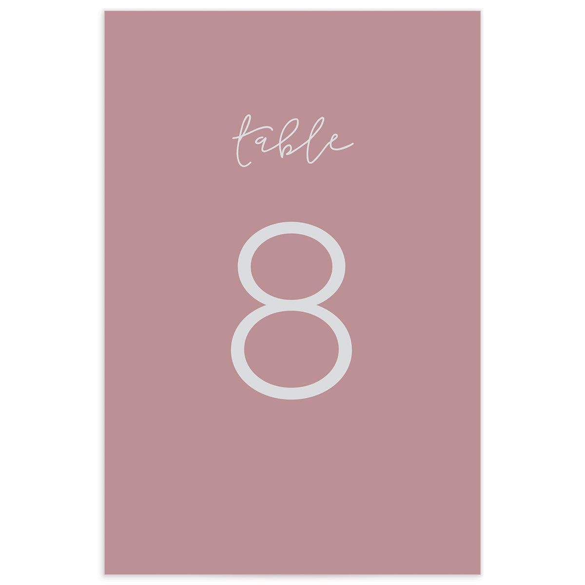 Gold Calligraphy wedding table numbers pink back