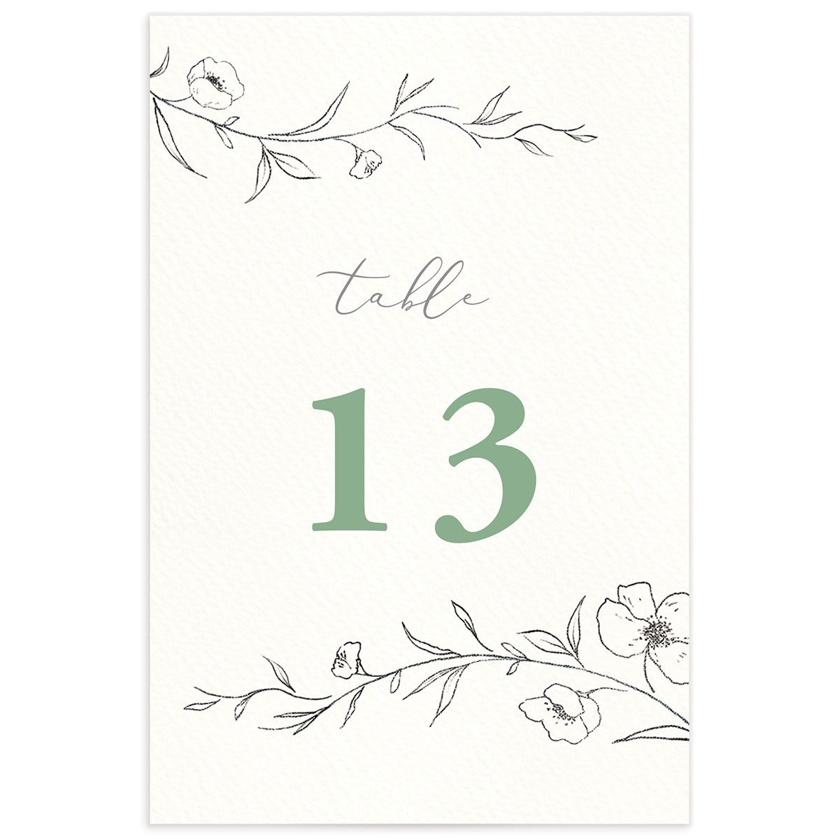 graceful botanical table numbers in green