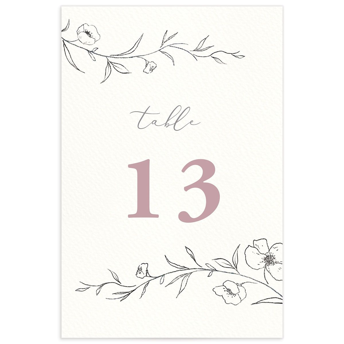 graceful botanical table numbers in pink