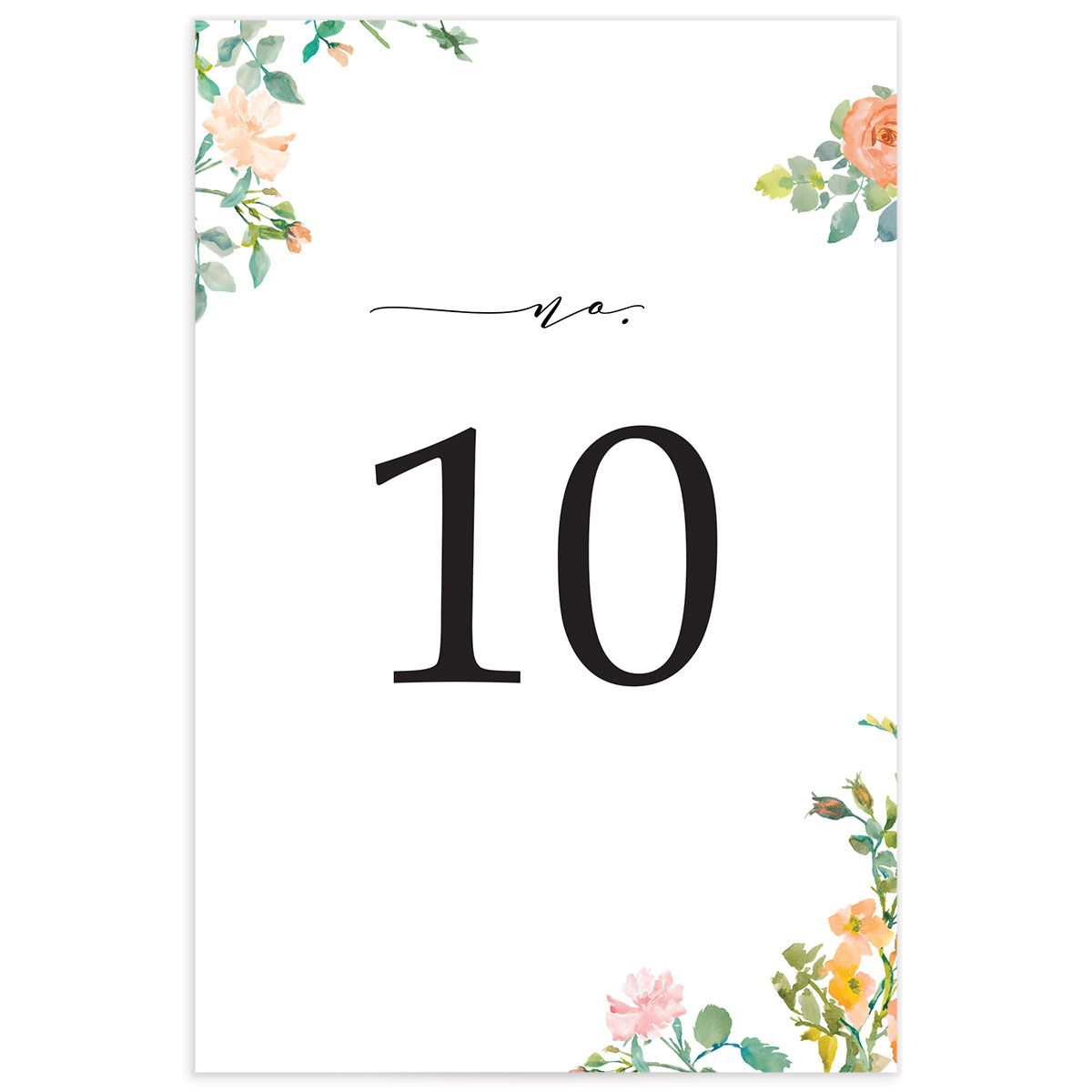 Minimal Floral double-sided table numbers back
