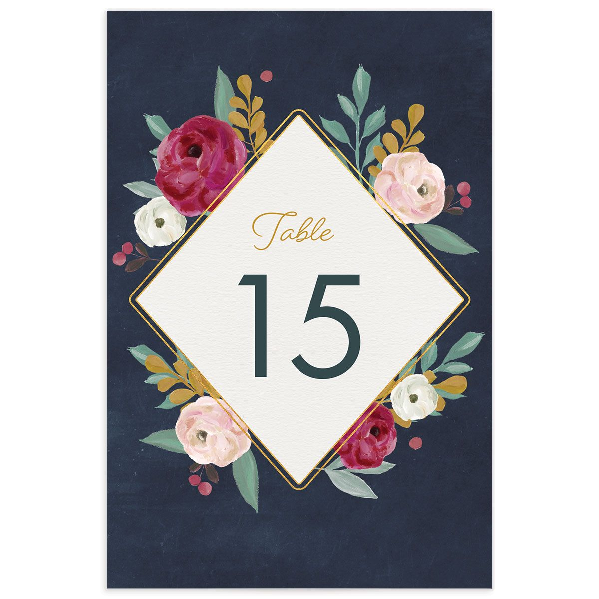 Painterly Blooms table number front