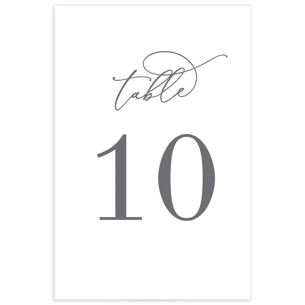 Romantic Calligraphy table number cards fronts