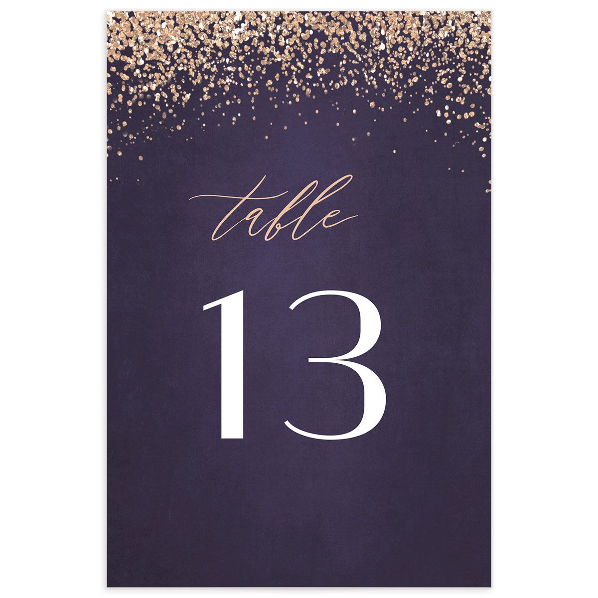 Sparkling Romance table number purple front
