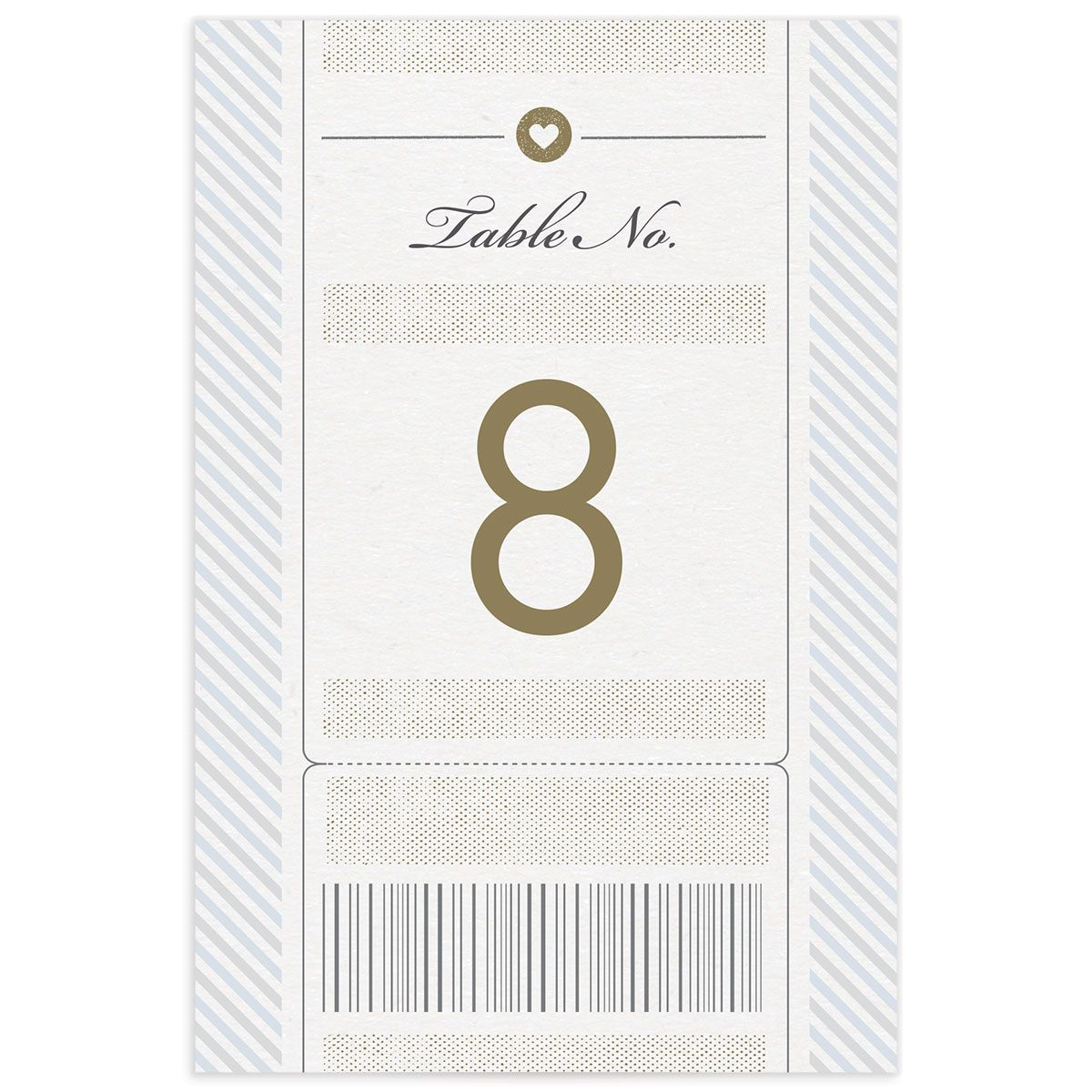 Vintage Boarding Pass table number front blue
