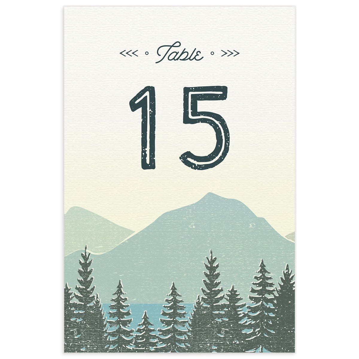 Vintage Mountain wedding table numbers front