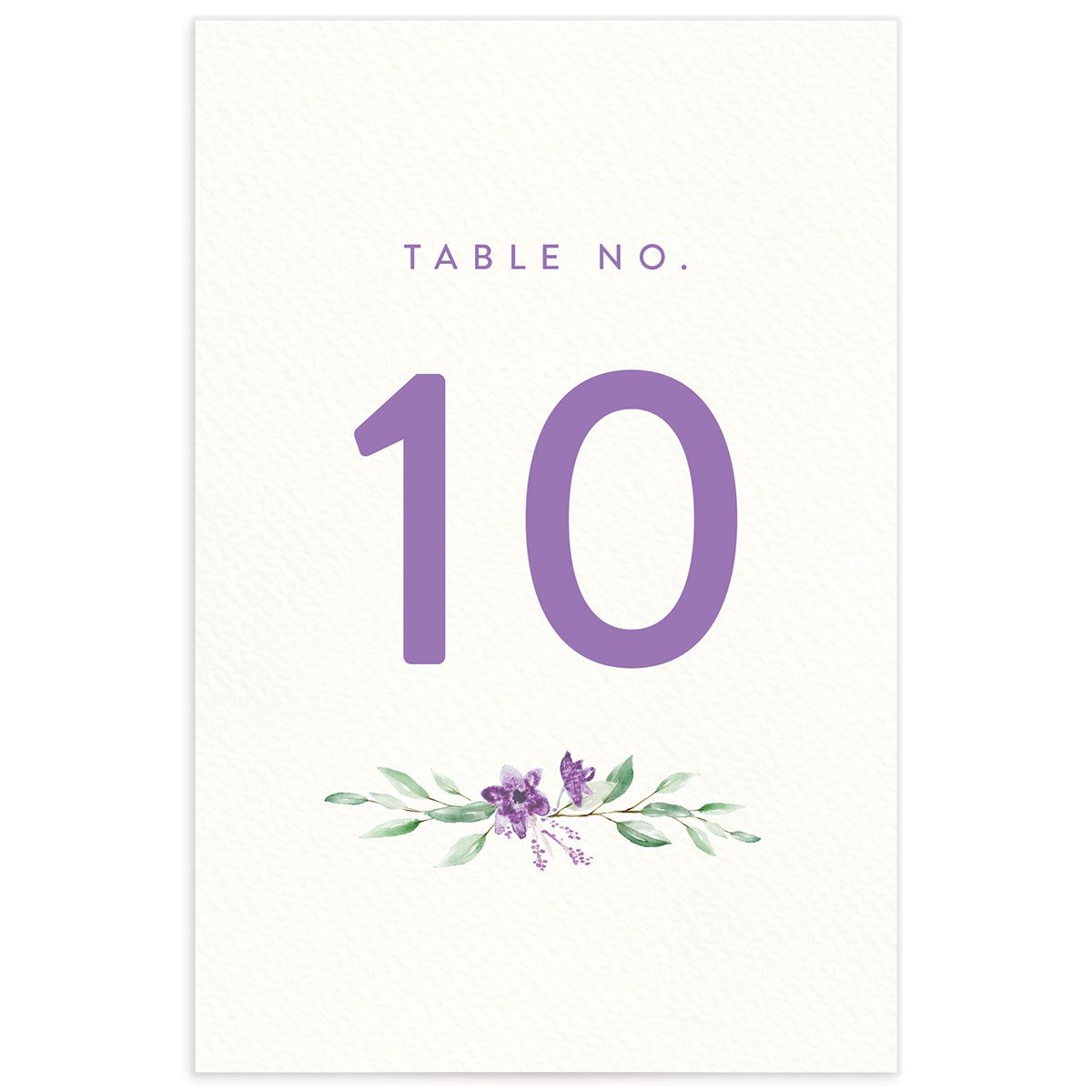 watercolor crest table numbers in purple back