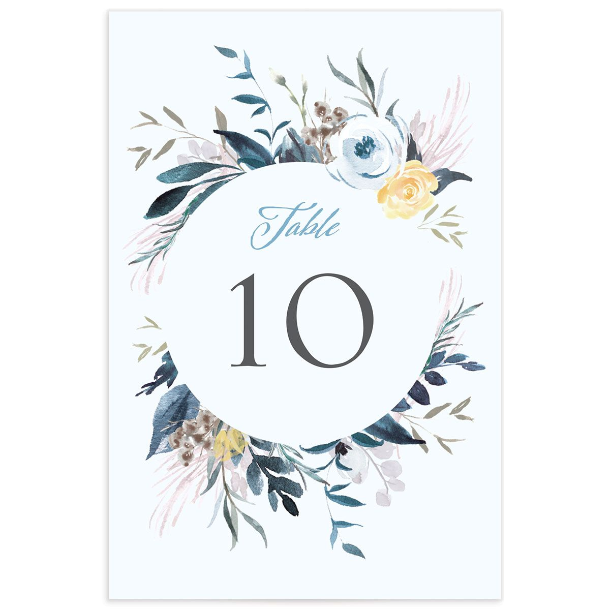 wild wreath wedding table numbers in blue