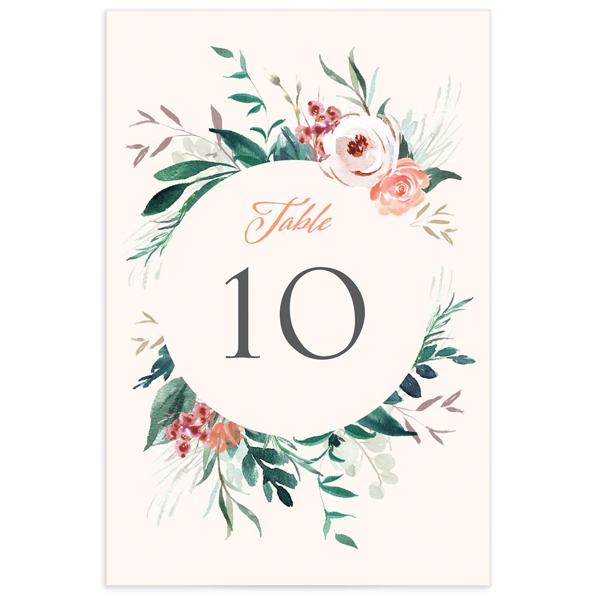 wild wreath wedding table numbers in pink