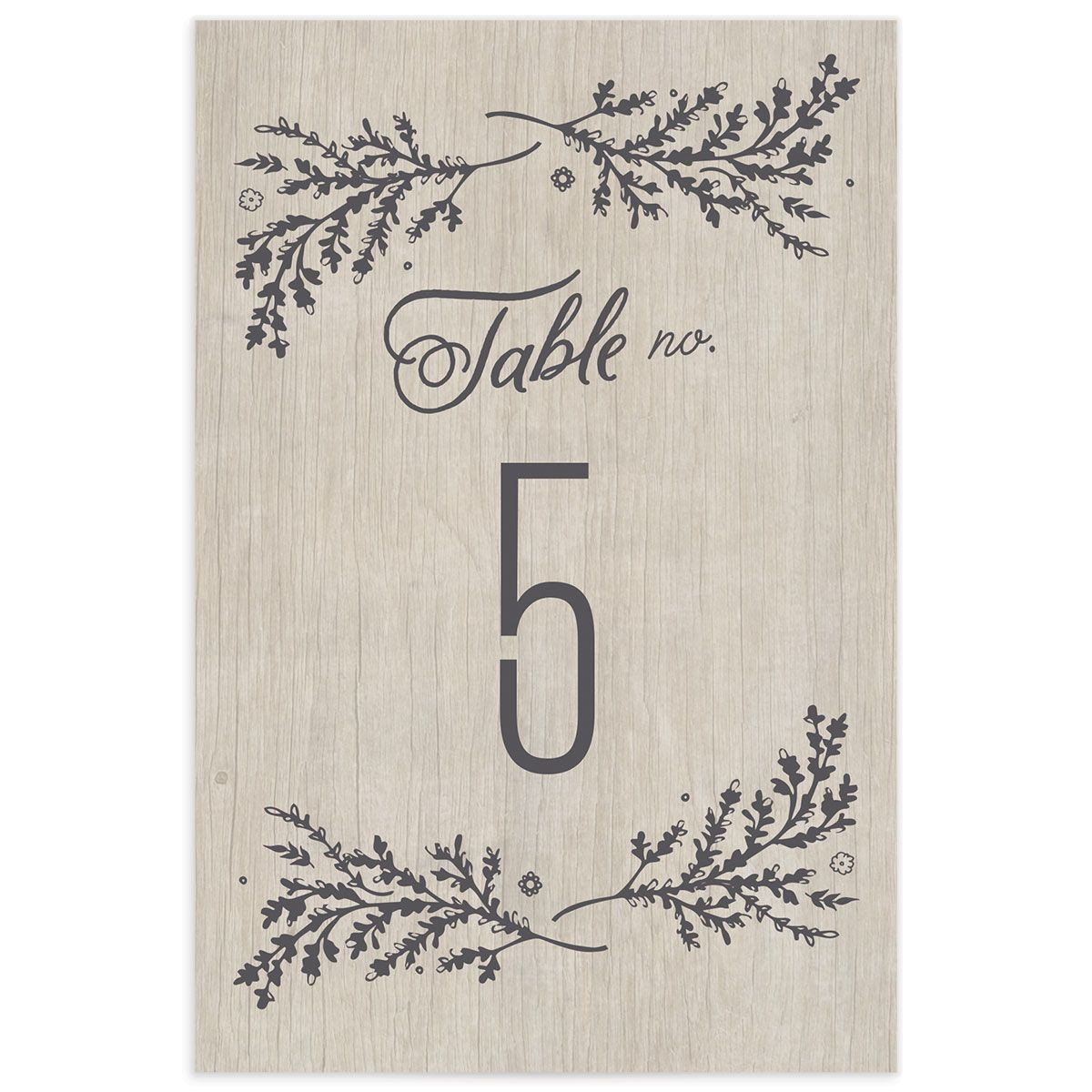 rustic chic wedding table numbers in grey