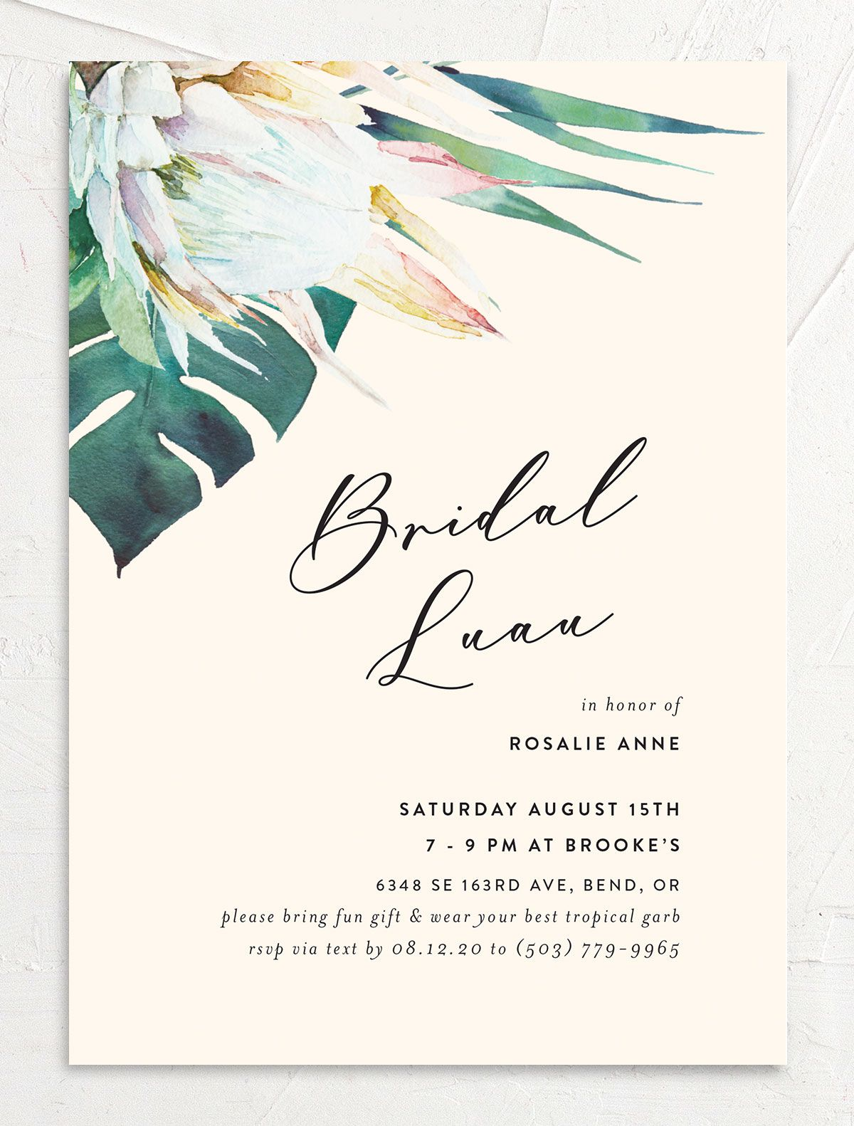Palm and Protea Bridal Shower invites front