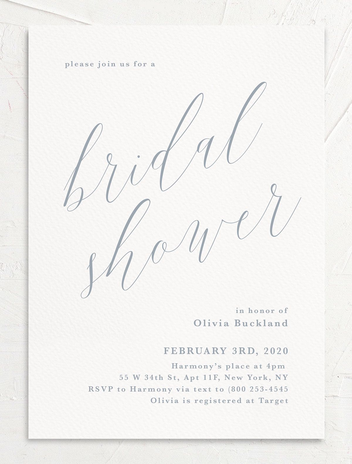 At Last Bridal Shower Invite in blue front