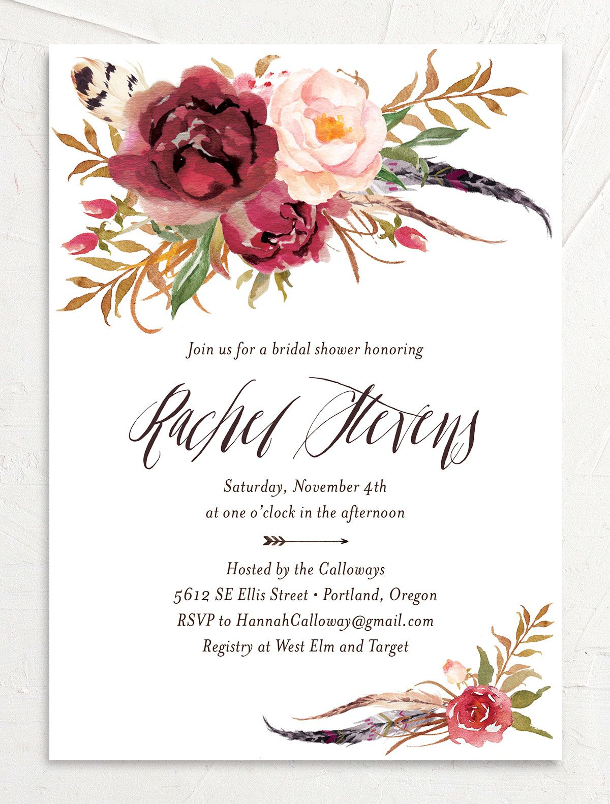 bohemian floral bridal shower invitations in burgundy