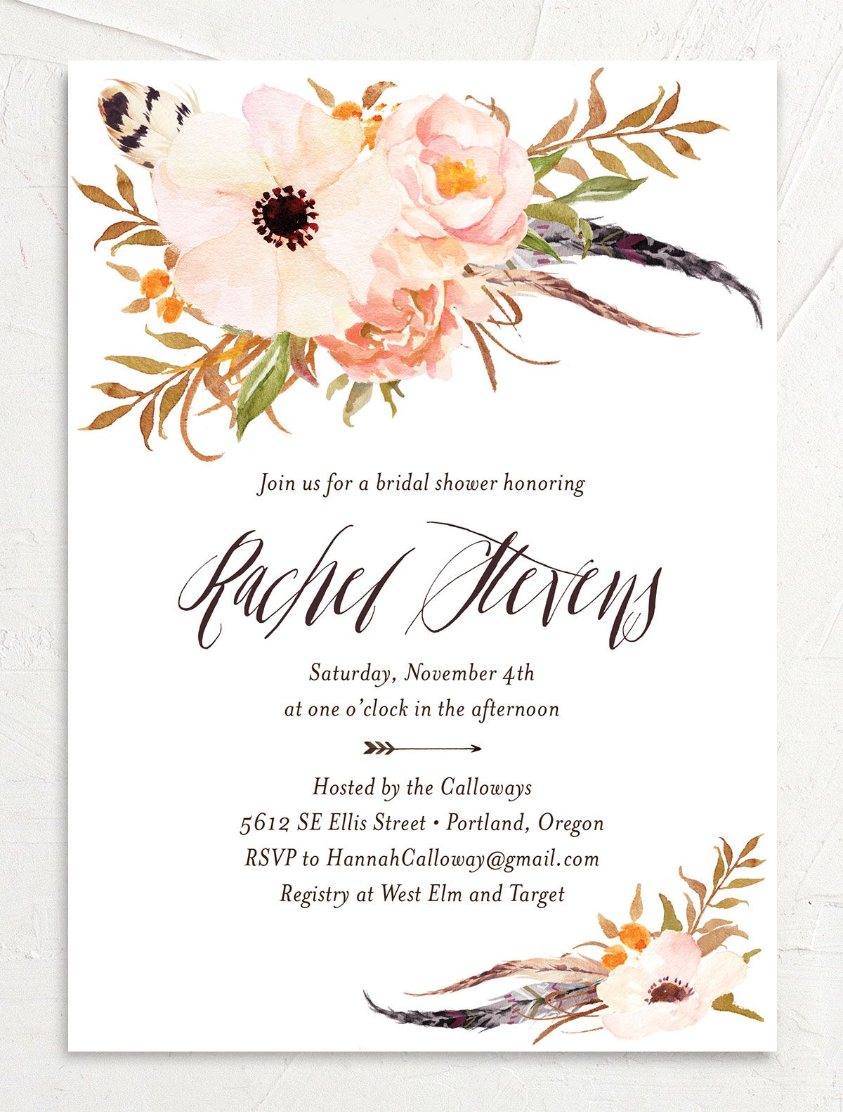 bohemian floral bridal shower invites in peach