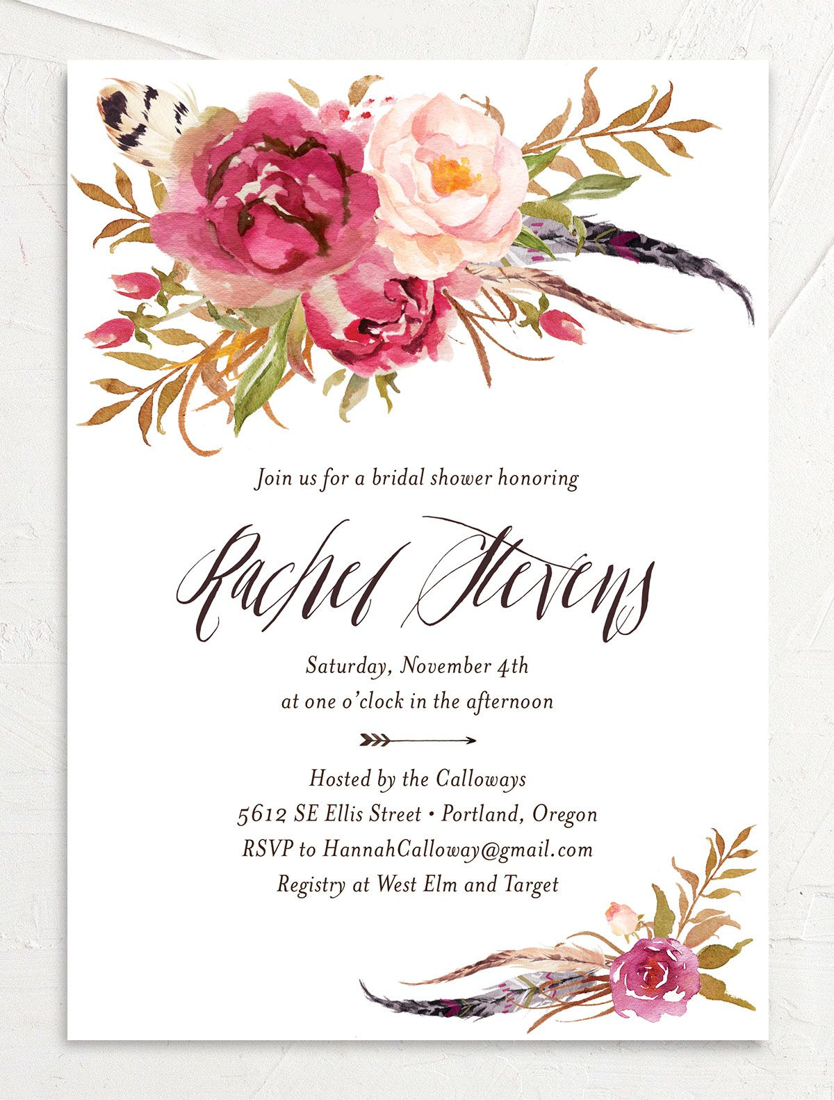 bohemian floral bridal shower invitations in pink