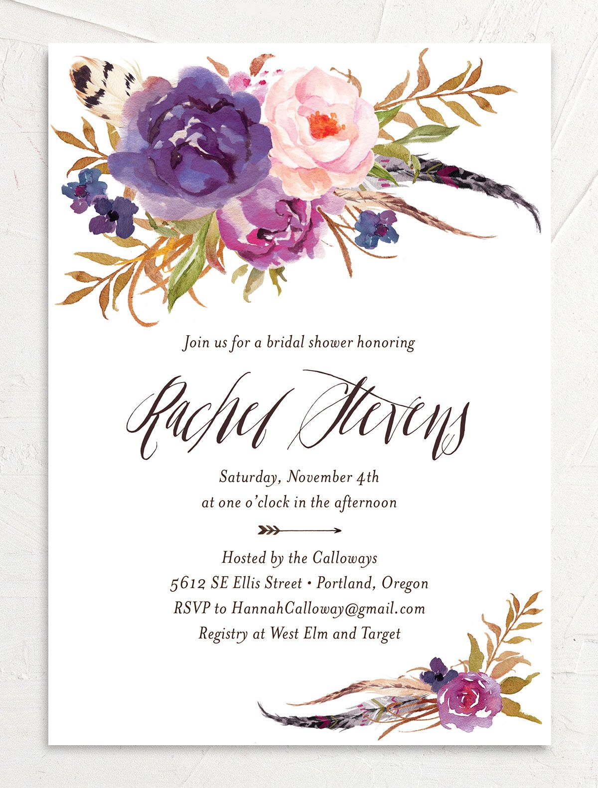 bohemian floral bridal shower invites in purple
