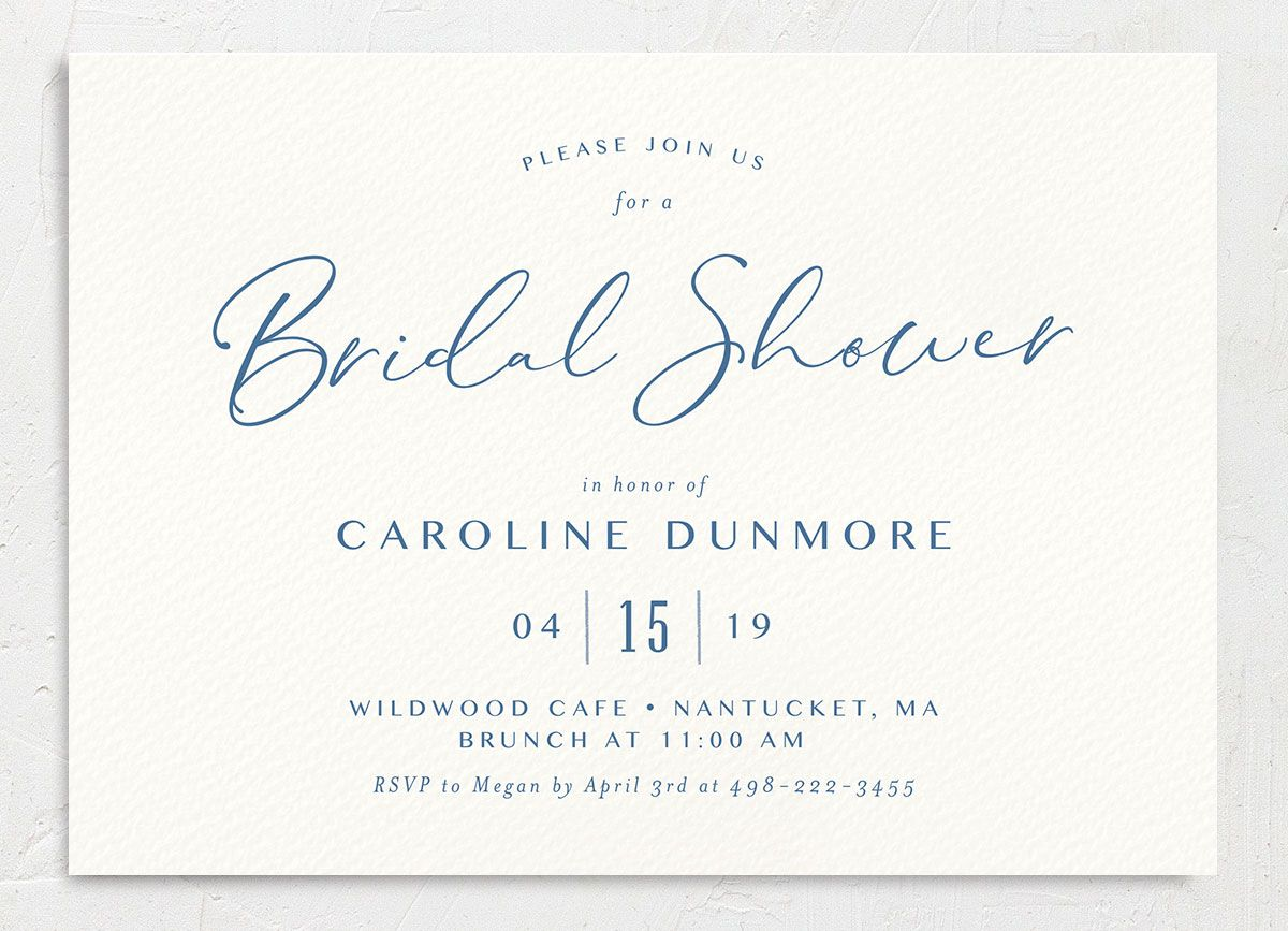 Coastal Love bridal shower invite in blue front