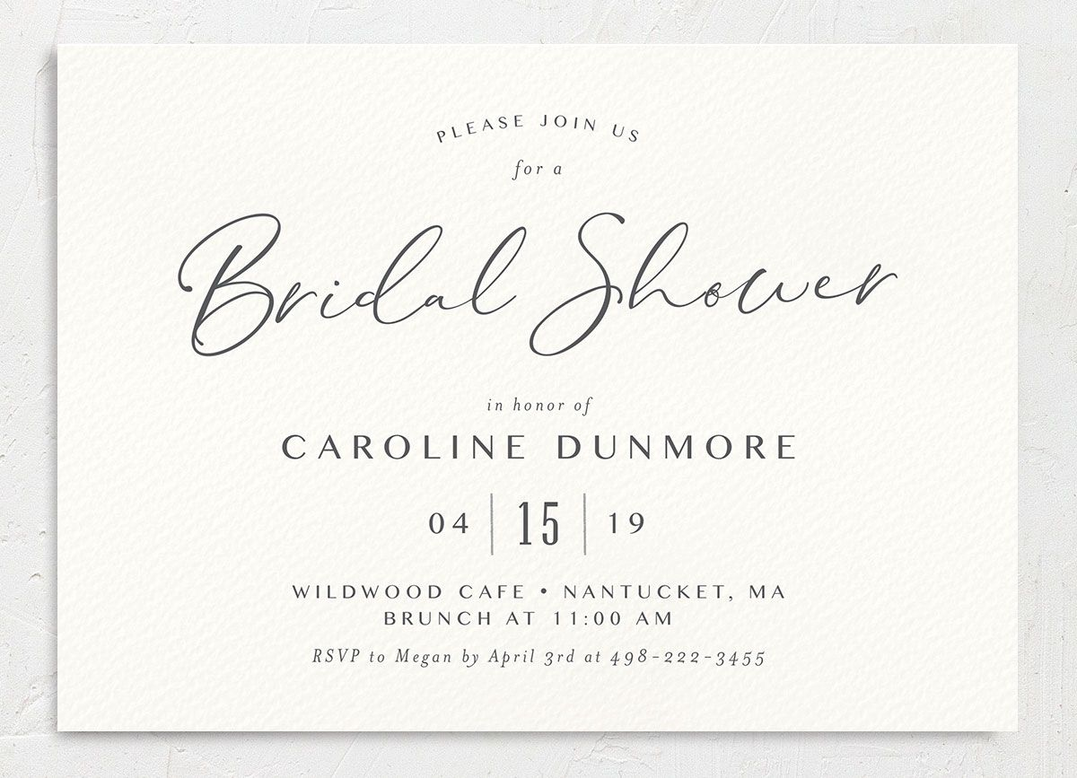 Coastal Love bridal shower invite in grey front