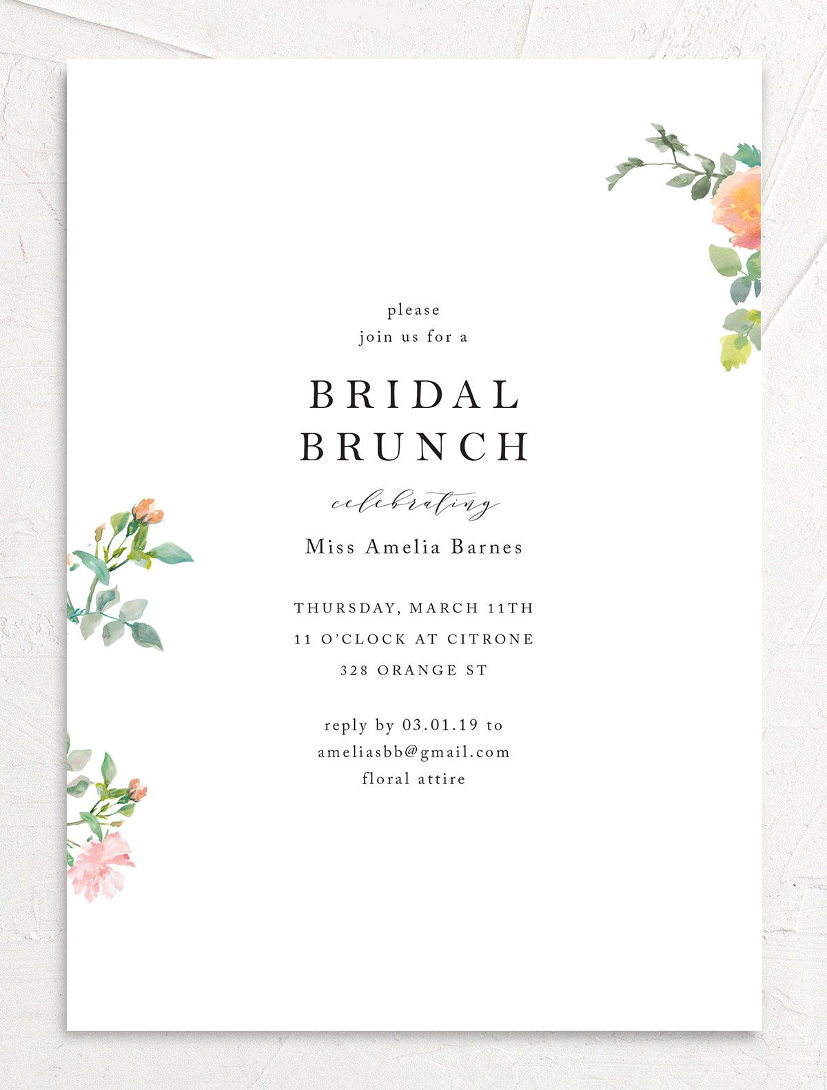 Minimal Floral Bridal Brunch invite front