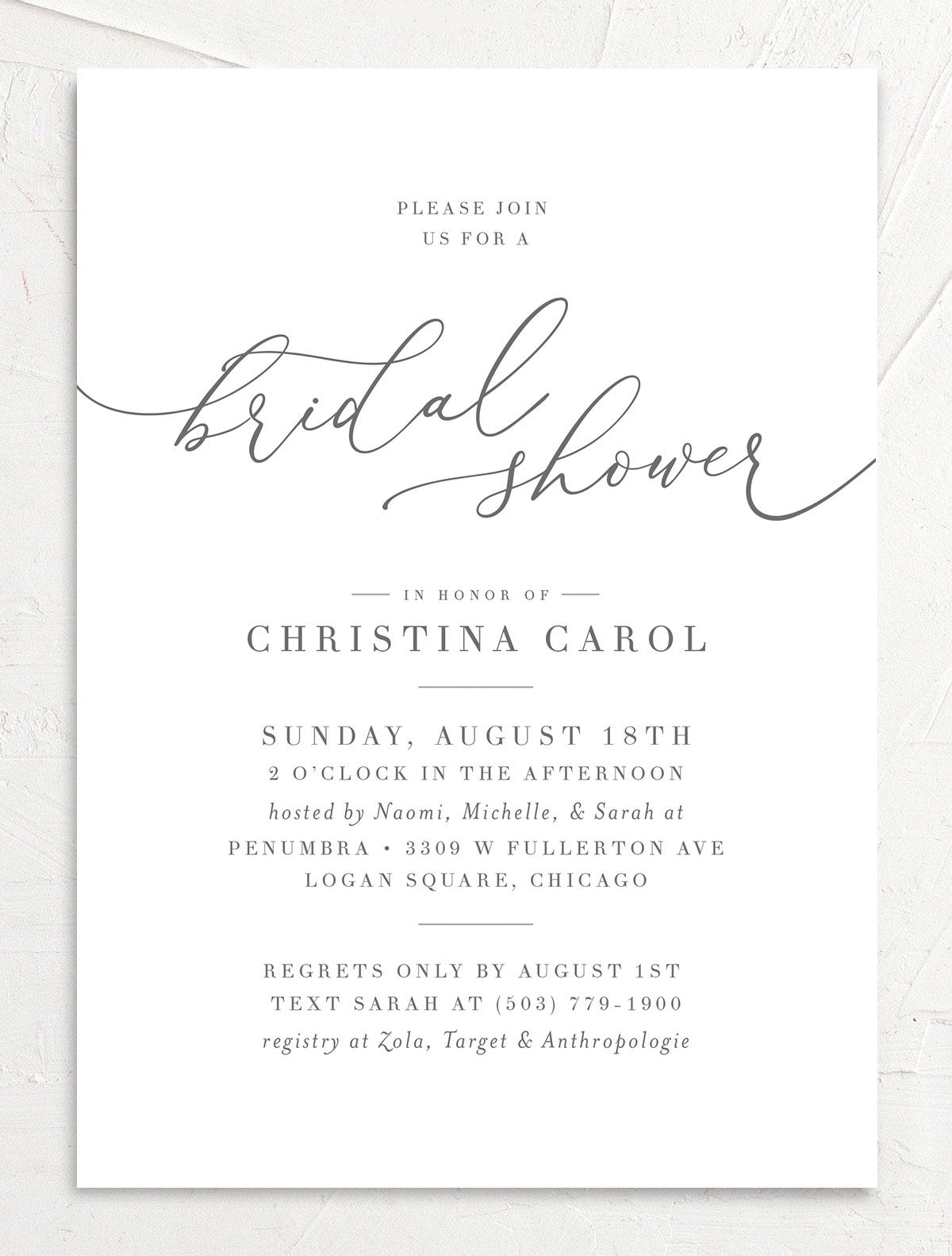 Romantic Calligraphy Bridal Shower invites front closeup