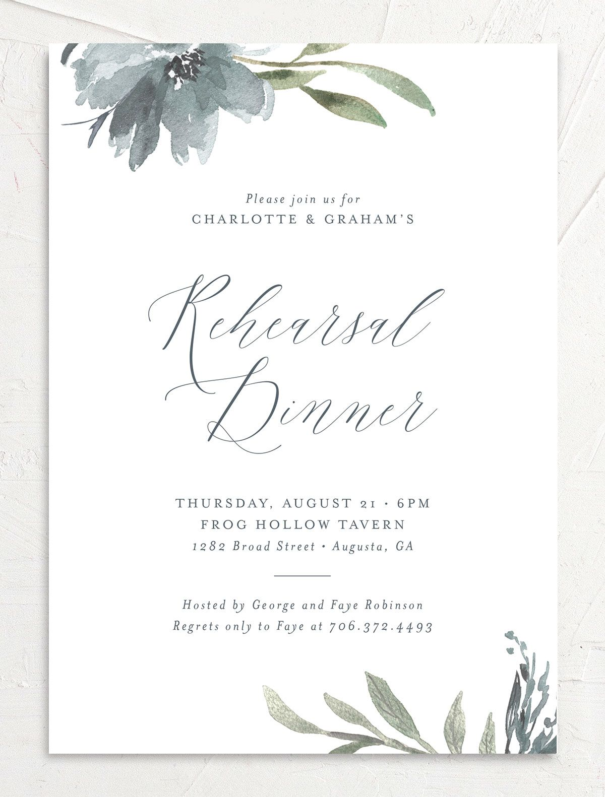 Muted floral rehearsal dinner invitations in dusty blue