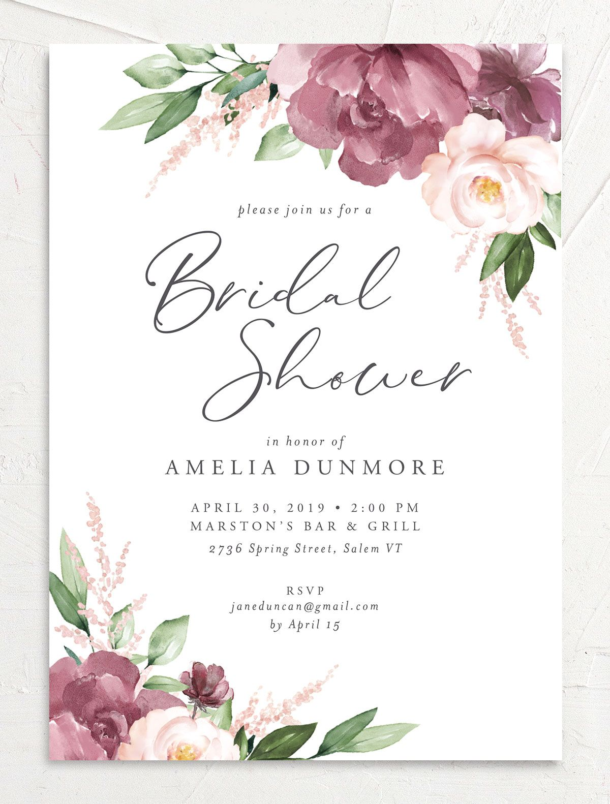 Beloved floral bridal shower invites in purple