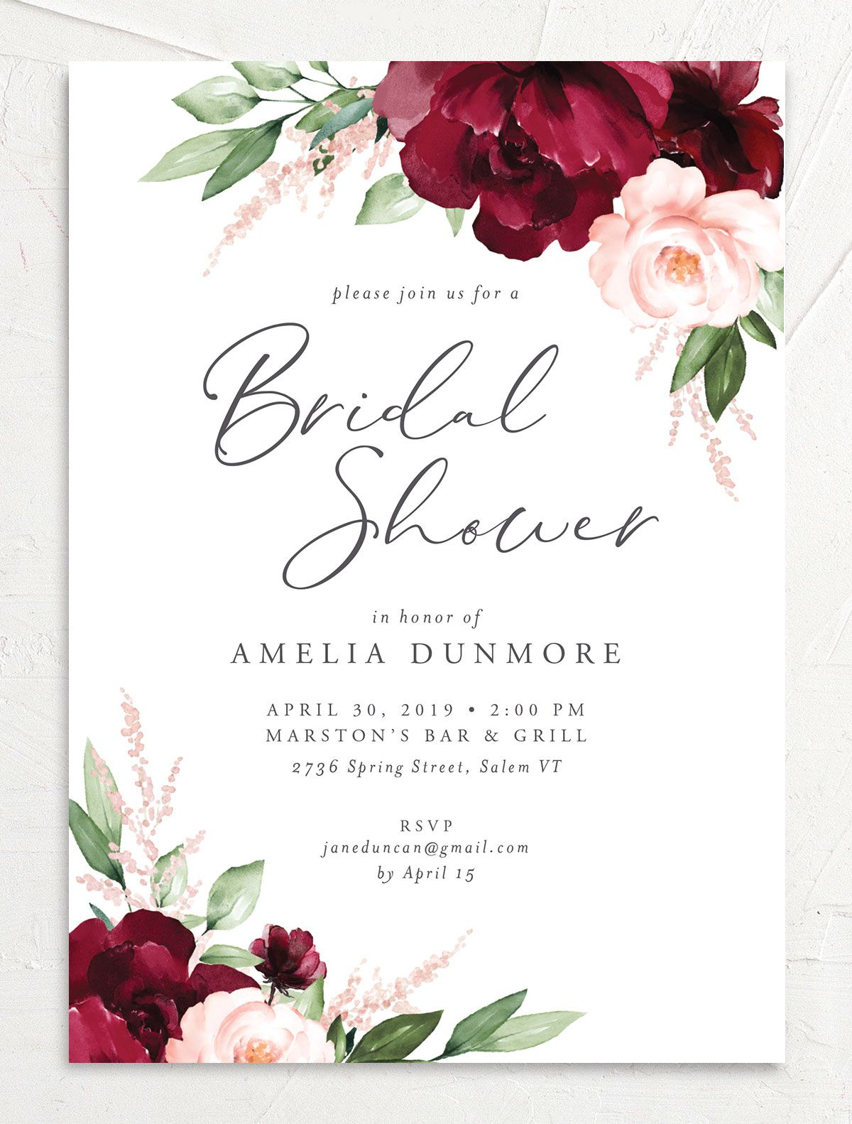 Beloved Floral Bridal Shower Invites in red